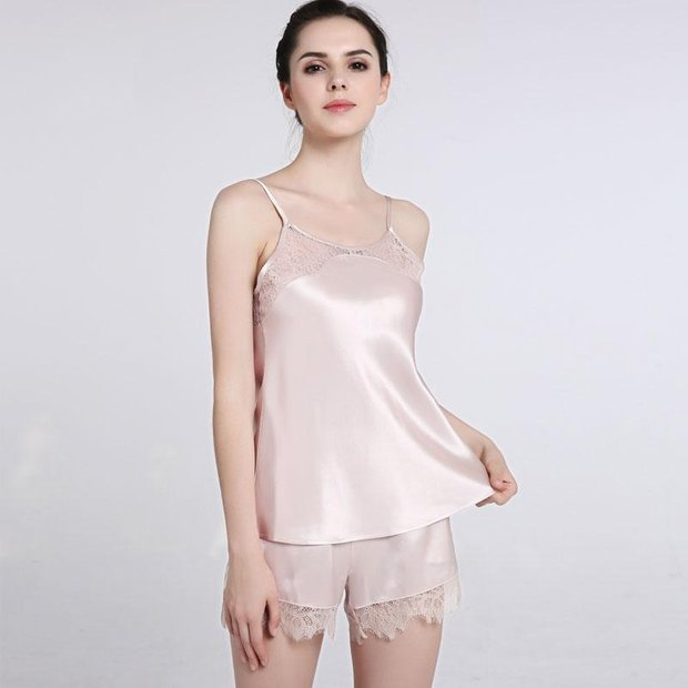 22 Momme High Quality Women's Elegant Lace Short Silk Camisole Set、Real Silk Life