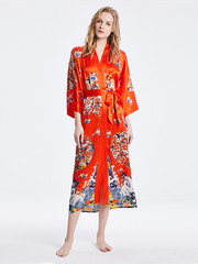 19 Momme Orange Traditional Printed Kimono Style Loose Silk Robes、Real Silk Life