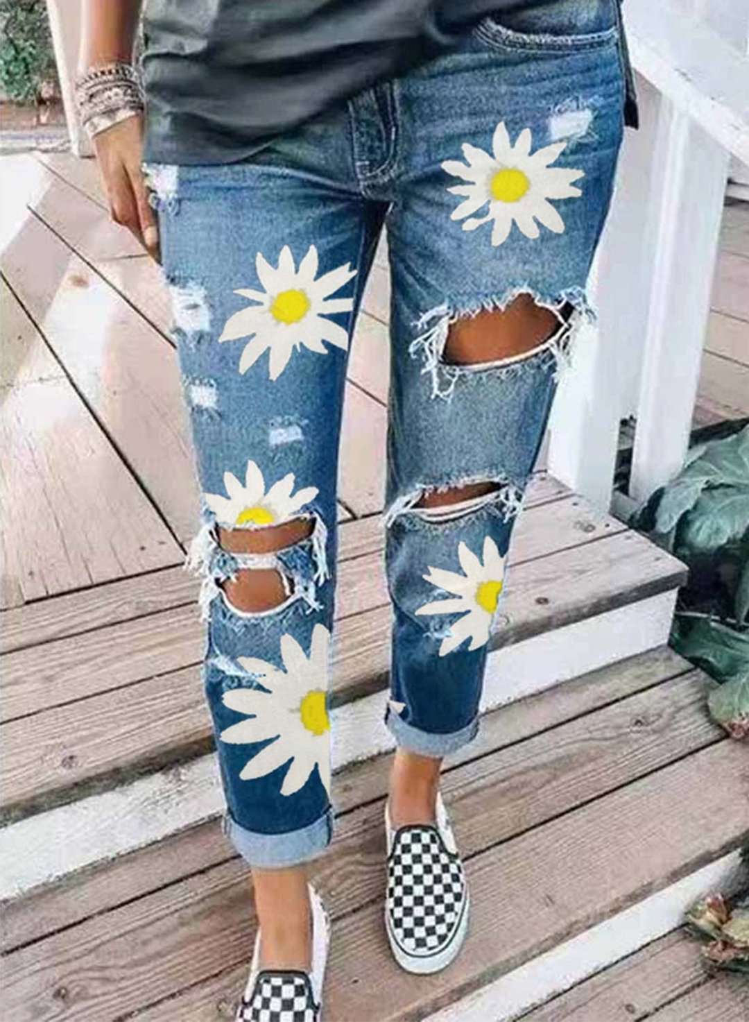 Sky Blue Women's Jeans High Waist Daisy Ripped Jeans LC781851-4