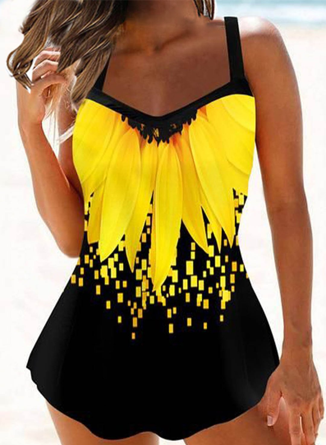 Yellow Women's Tankinis Suit Floral Padded Sleeveless V Neck High Waist Unadjustable Wire-free Beach Two-piece Suit LC412316-7