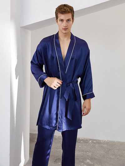 19 Momme Classic Silk Kimono Robe Pajamas Set For Men、Real Silk Life