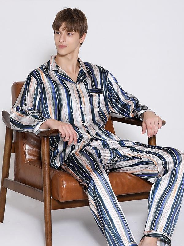 22 Momme Luxury Long Sleeves Chic Stripes Pajamas Set For Men、Real Silk Life