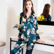 2020 New Collection 19 Momme Green Printed Silk Pajamas Set、REAL SILK LIFE