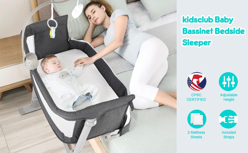 2-in-1 baby bassinet bedside sleeper