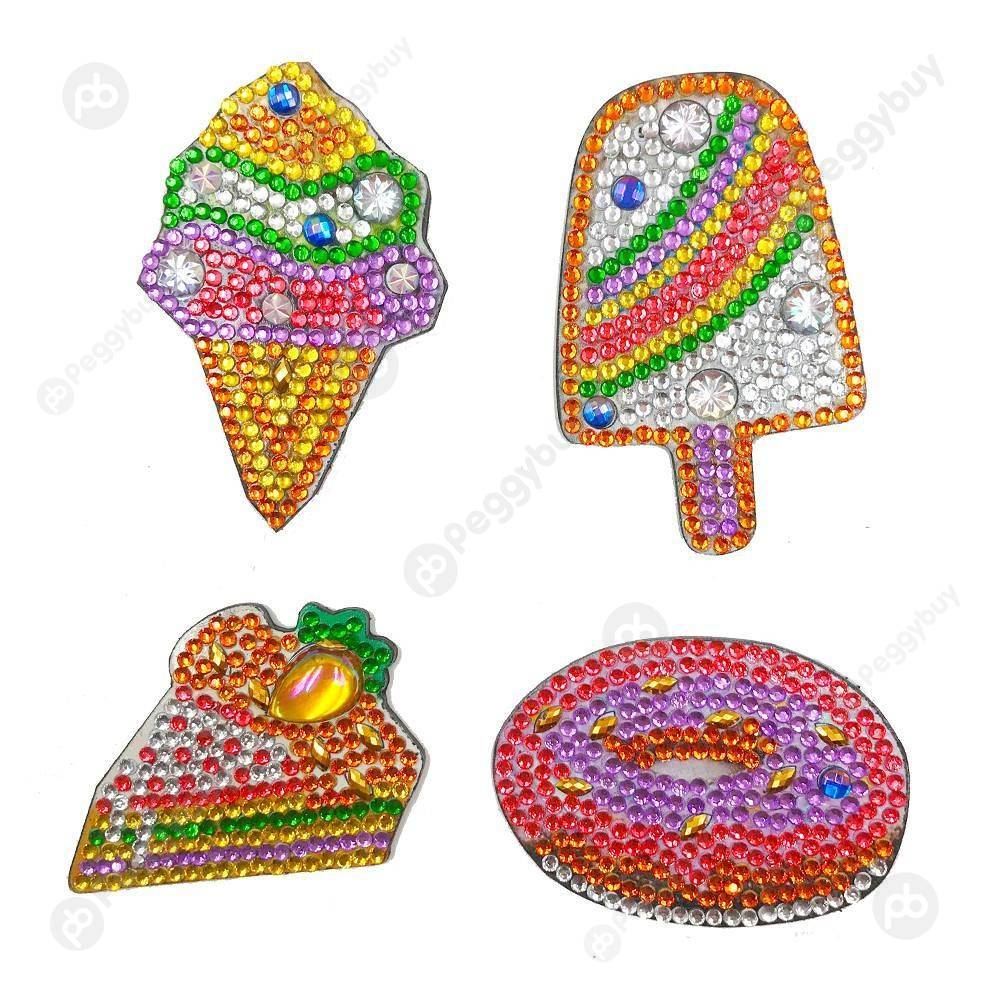Peggybuy coupon: 4pcs Ice Cream Fridge Magnet-DIY Creative Diamond Sticker