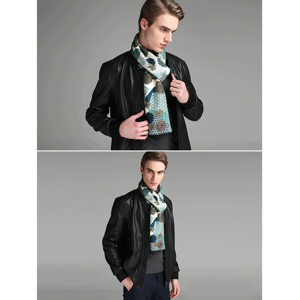 Green Silk Scarf 1033161091 For Men 30*180、REAL SILK LIFE
