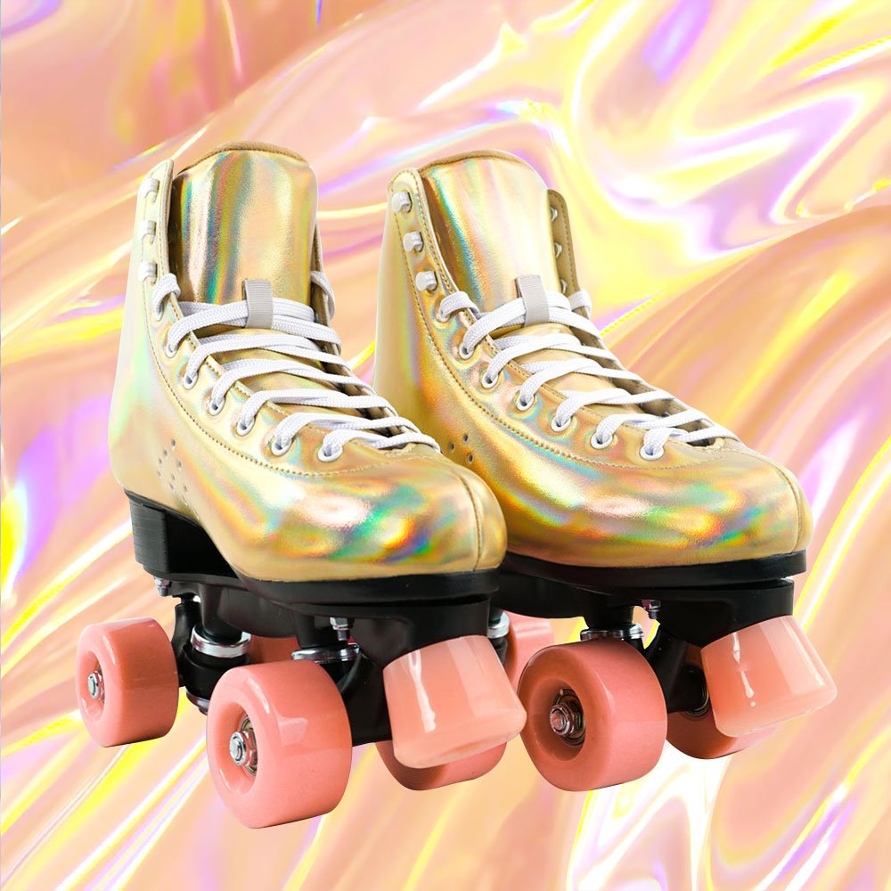 Genuine Leather Golden Laser Roller Skates-Skatesfun