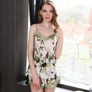 19 Momme Women's Elegant Printed Short Silk Camisole Set、Real Silk Life