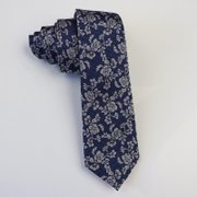 Rosettes Navy Blue Silk Tie、Real Silk Life