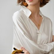 Women White Relaxed Fit Stand Collar Silk Shirt、Real Silk Life
