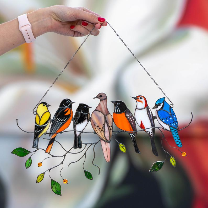 Birds stained glass window hangings Mothers Day gift Stained 7 birds