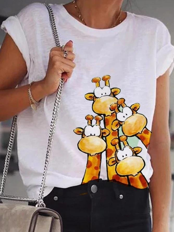 White Cotton Short Sleeve Animal Shirts & Tops - toplula