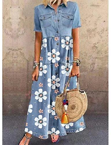 Women's Denim Shirt Dress Maxi long Dress