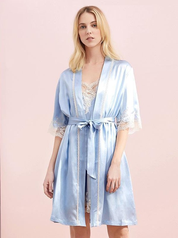 30 Momme Luxury Short Sleeves Silk Robe Set | Two Colors Selected、Real Silk Life