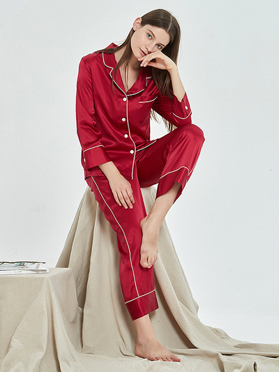 22 Momme French Design Long Silk Pajamas Set | Multi-Colors Selected、Real Silk Life