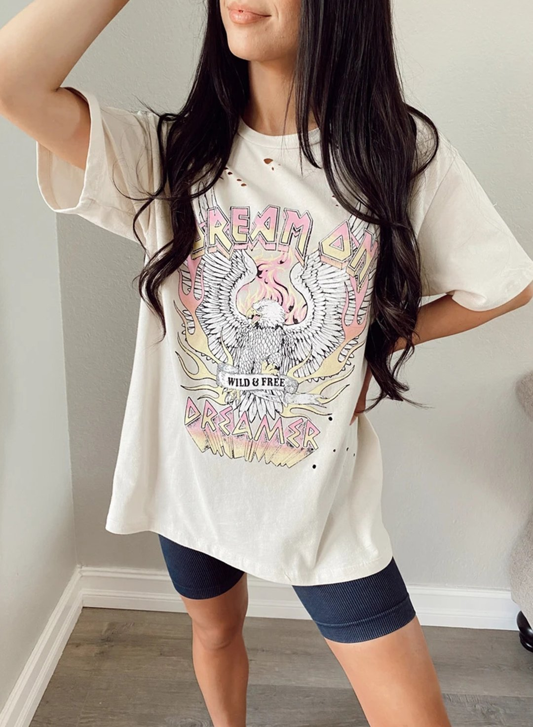 Beige Women's T-shirts American Music Festival Letter Print Short Sleeve Round Neck Daily T-shirt LC2525559-15