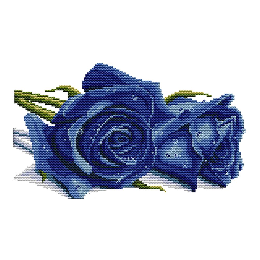 Blue Rose - 14CT Stamped Cross Stitch - 34*21CM