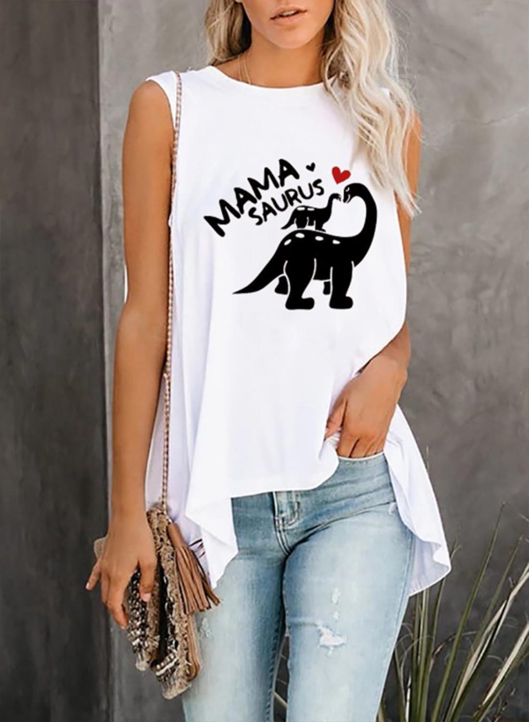White Women's Tank Tops Letter Animal  Sleeveless Round Neck Daily Tank Top LC2524534-1
