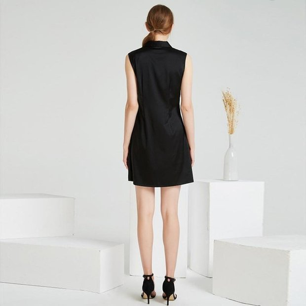 High Quality Black Classic V Neck Silk Dress、Real Silk Life
