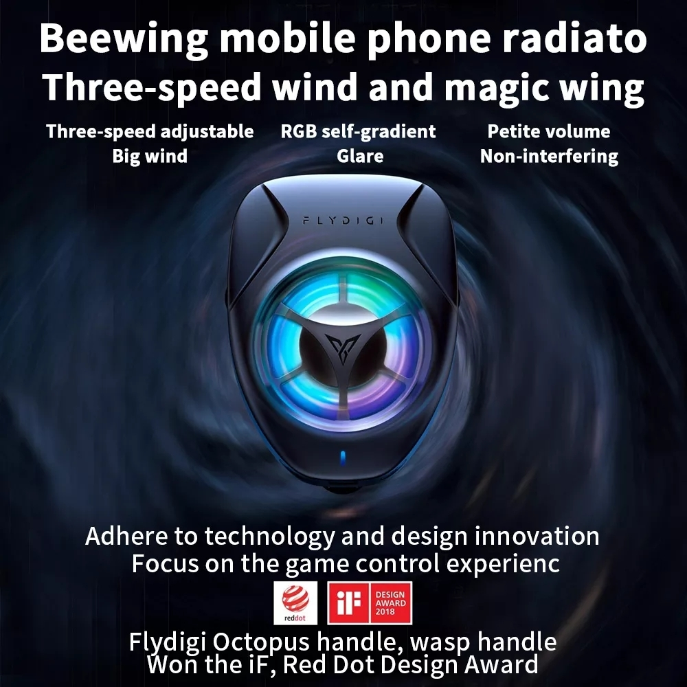 Original Xiaomi FLYDIGI Portable Mobile Phone Cooling Fan Radiator (Black)