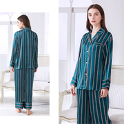High Quality 19 Momme Peacock Blue Stripes Long Sleeves Silk Pajamas Set For Women、Real Silk Life