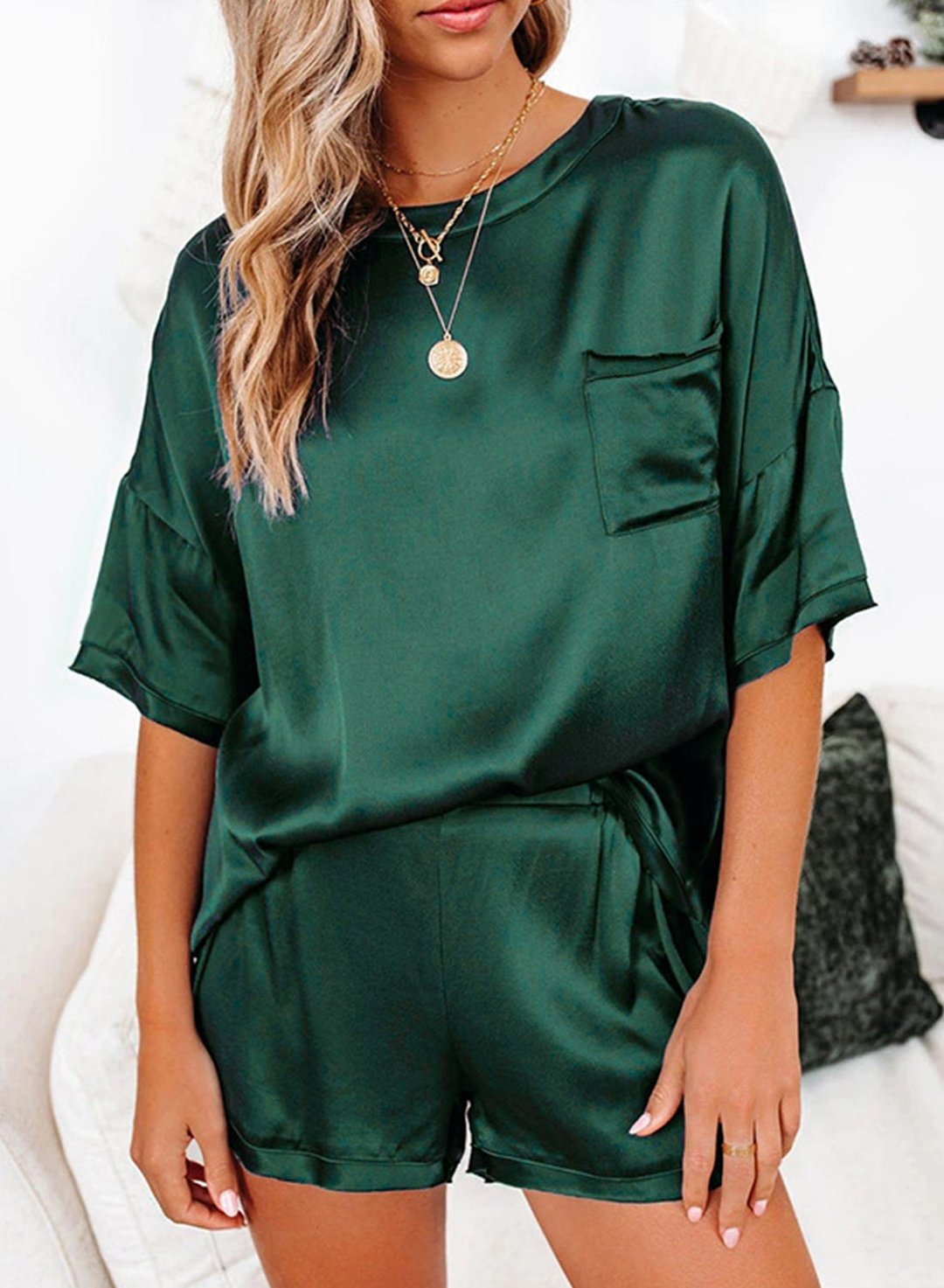 Green Women's Loungewear Sets Solid 3/4 Sleeve Round Neck Pocket 2-Piece Loungewear Set LC4511567-9