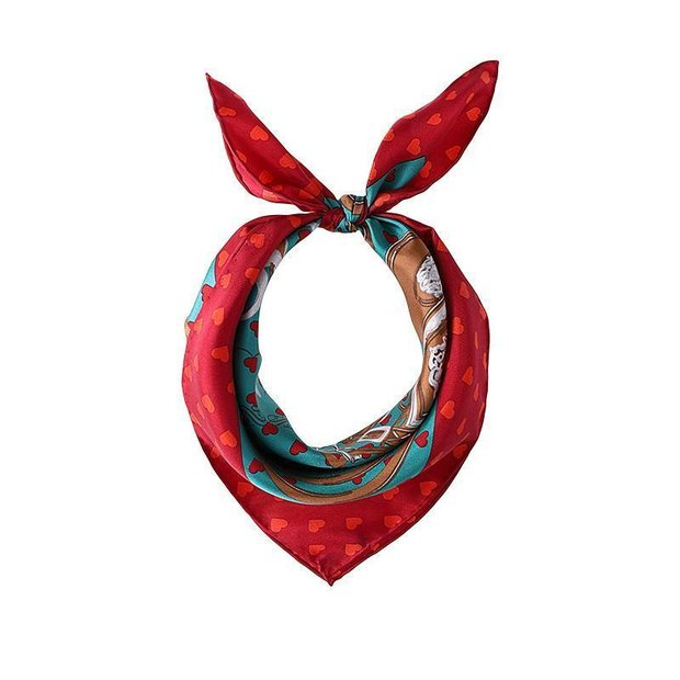 Women Twill Lovely Heart Silk Square Scarf、REAL SILK LIFE