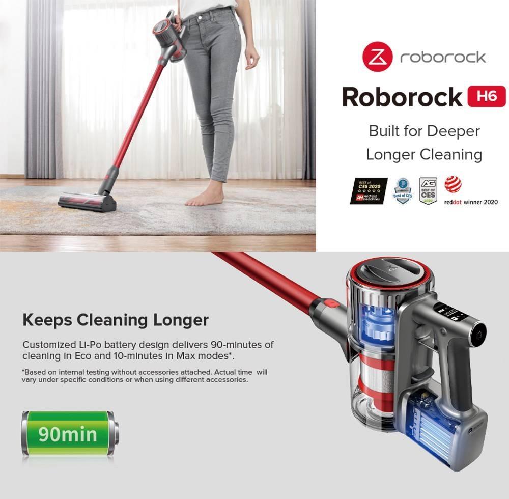 Aspirateur à main sans fil portable Roborock H6 Version EU avec une forte puissance d'aspiration de 25KPa