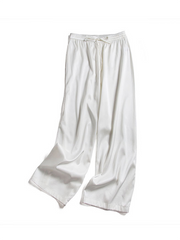 Women Elastic Waist With Waistband Silk Pants、Real Silk Life