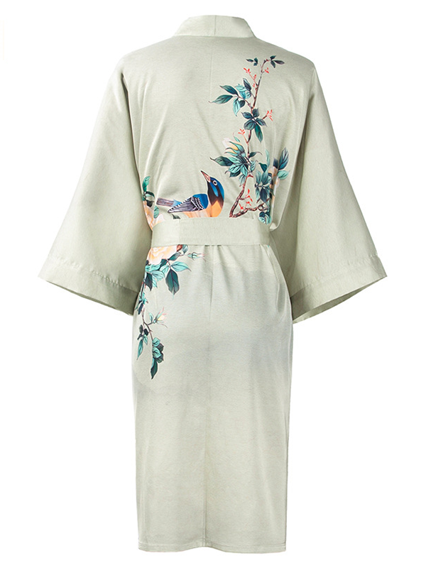 19 Momme Traditional Kimono Style Loose Silk Robes、Real Silk Life