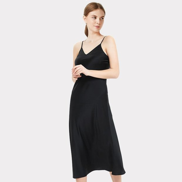 19 Momme High Quality Black Long Silk Cami Dress、Real Silk Life