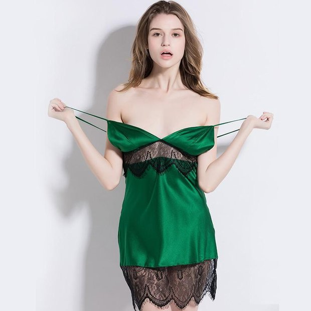 19 Momme Charming Green Short Silk Nightgown、Real Silk Life