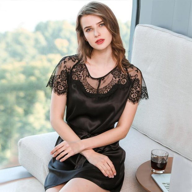19 Momme Women's Lace Silk Nightgown、Real Silk Life