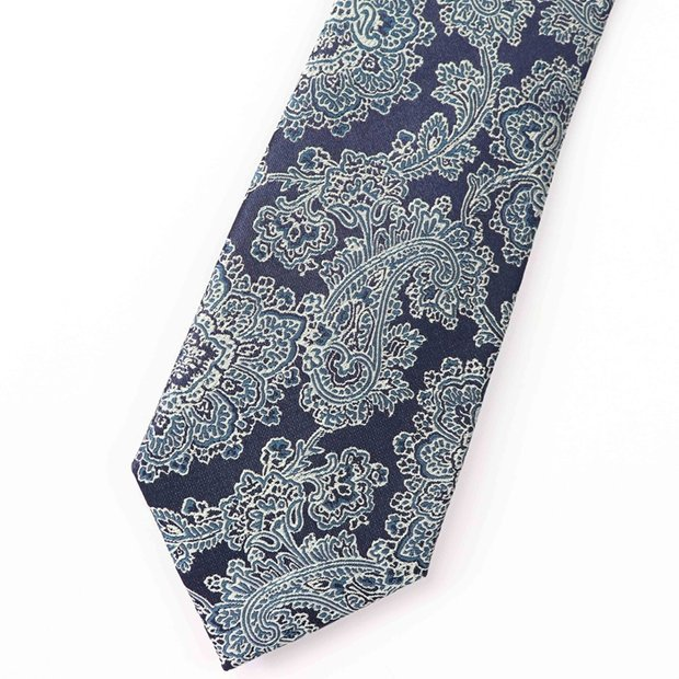 Branch Printed Navy Blue Silk Tie、Real Silk Life