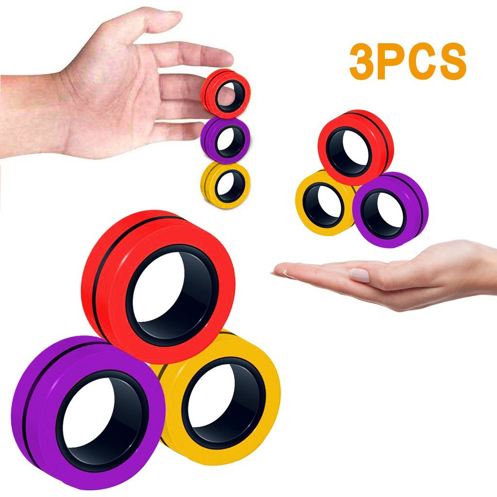 6 PCS colors random Finger Magnetic Rings Unzip Toy Decompression Magnetic Fingertip Magic Ring Gyro Toys Anxiety Disorder ADHD Stress Spinning Top Magnetic Fidget Spinner Toys for Adults Children