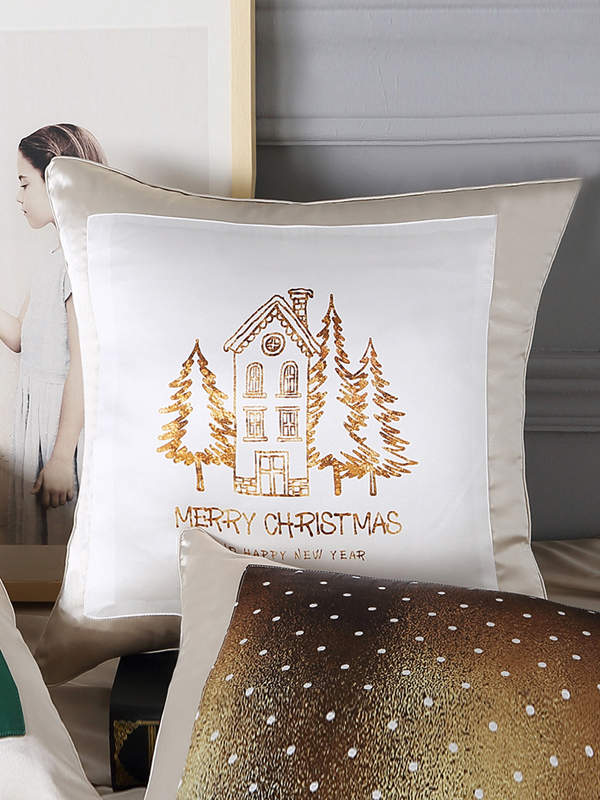 Plantation Printed Decorative Silk Cushion European Pillowcase、RealSilkLife