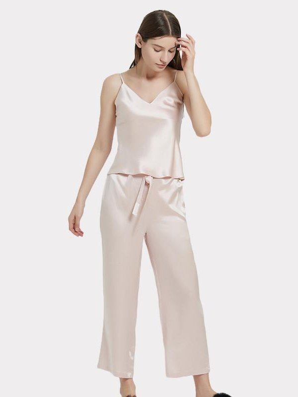 Monogrammed 25 Momme Light Pink Silk Camisole Pajamas Set、Real Silk Life