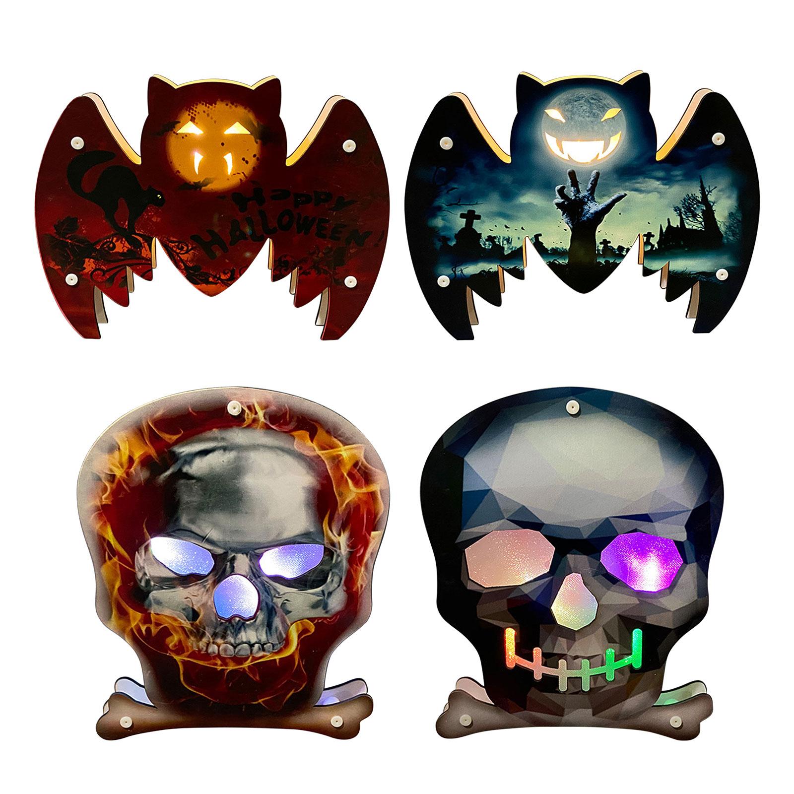 Halloween Decorations Wooden Hanging Bat Skull with Lights Indoor Outdoor, 501 Original, Cesdeals, 1-1  - buy with discount