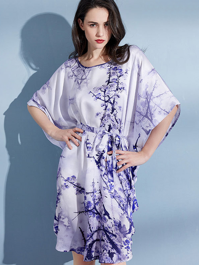 19 Momme Purple Flower Printed Loose Plus Size Nightgown、Real Silk Life