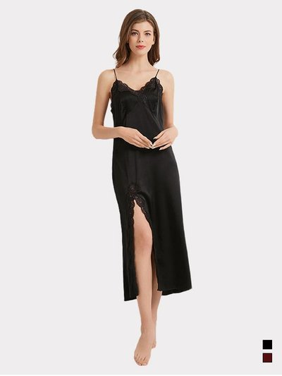 19 Momme Sexy Design Silk Long Nightgown | Two Colors Selected、Real Silk Life