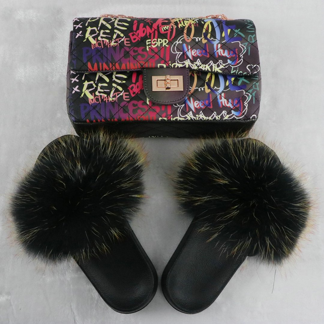Black Black Fluffy Fur Slides with Matching Graffiti Printed Purse Set LC12056-2