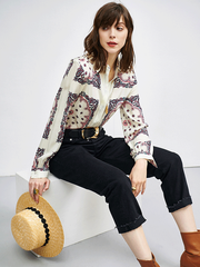 Paisley Printed Cream Silk Shirt、Real Silk Life
