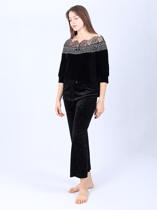 Silk Velvet Casual Set With Lace Neckline、Real Silk Life