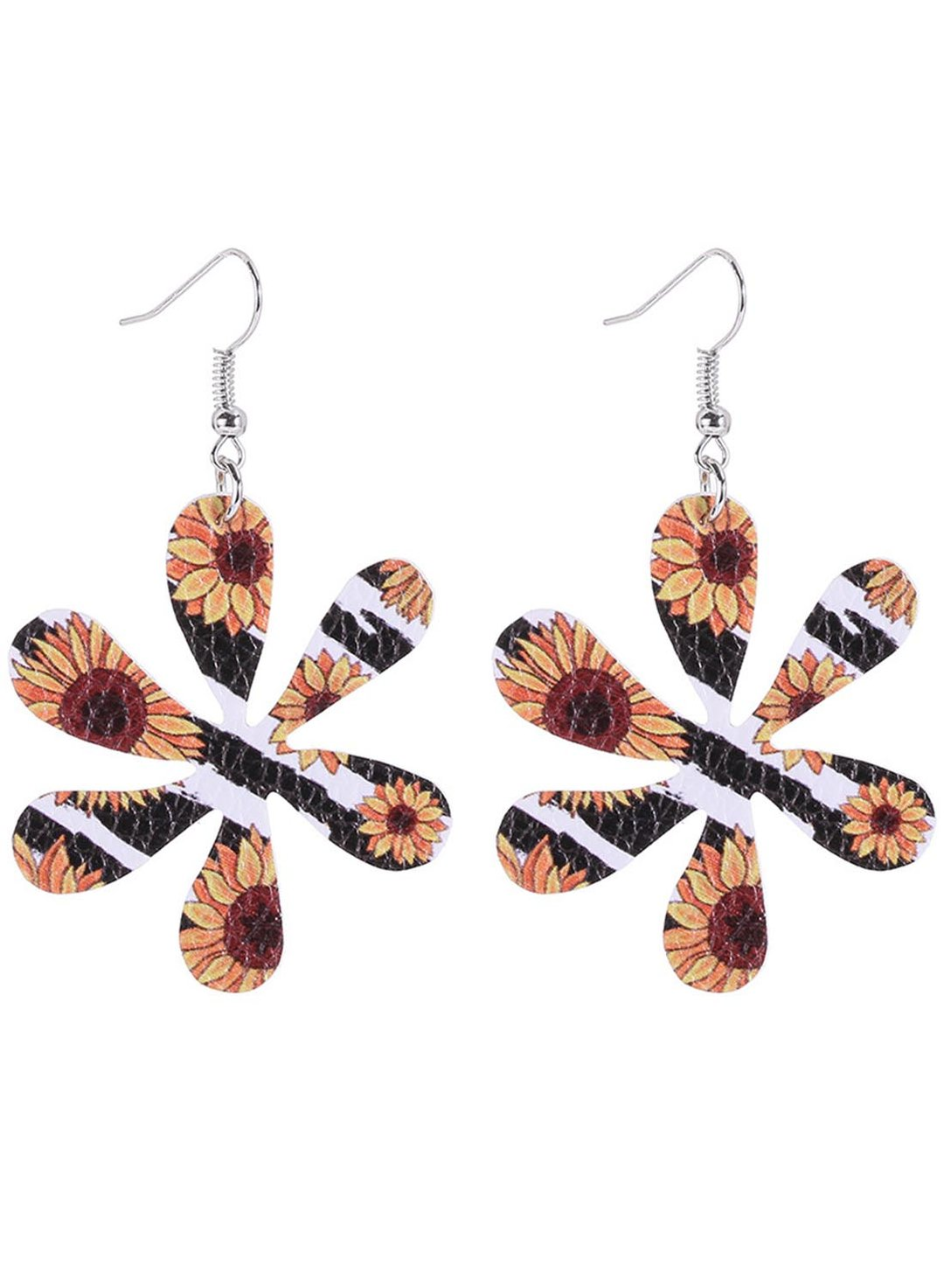 Stripe Women's Earrings Sunflower Chrysanthemum Flower Leather Earrings LC012439-19