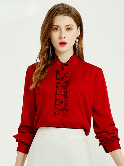 Astonish Red Vantage Silk Blouses、Real Silk Life