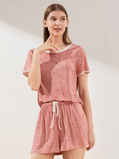 19 Momme Cute Detail Short Silk Pajamas Set、Real Silk Life