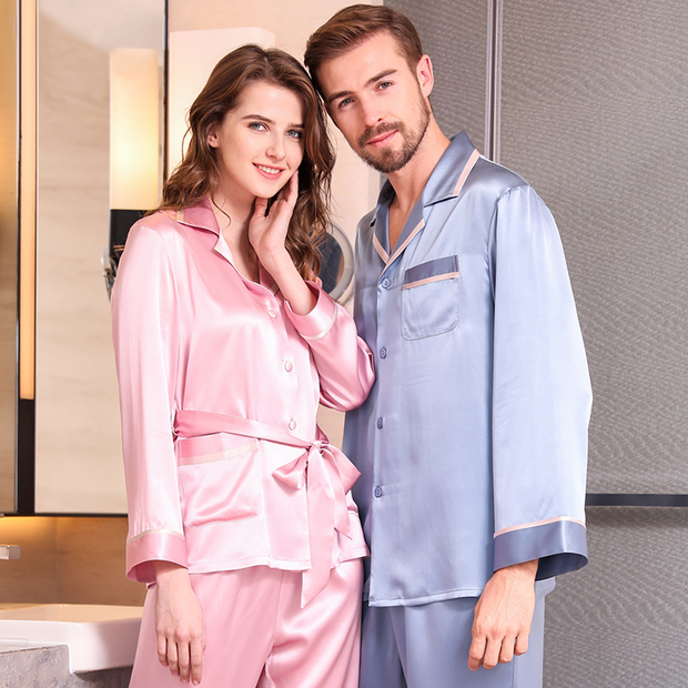 19 Momme French Design Long Sleeves Classic Silk Pajamas Set For Couple、REAL SILK LIFE