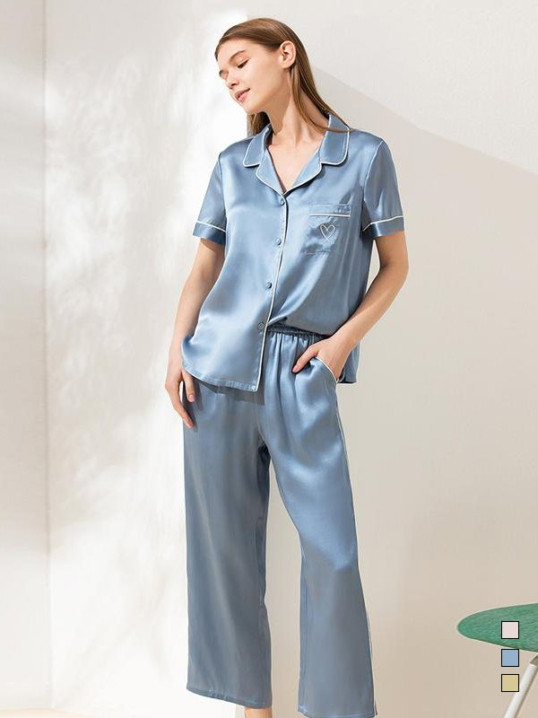 19 Momme Love Collection Short Sleeves Silk Pajamas、Real Silk Life