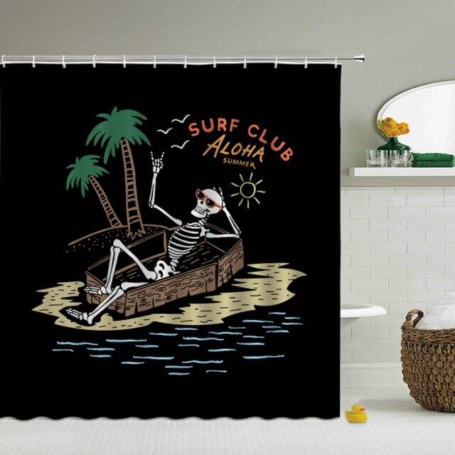 Shower Curtain – Beach Skeleton-180*180cm, 501 Original, Cesdeals  - buy with discount