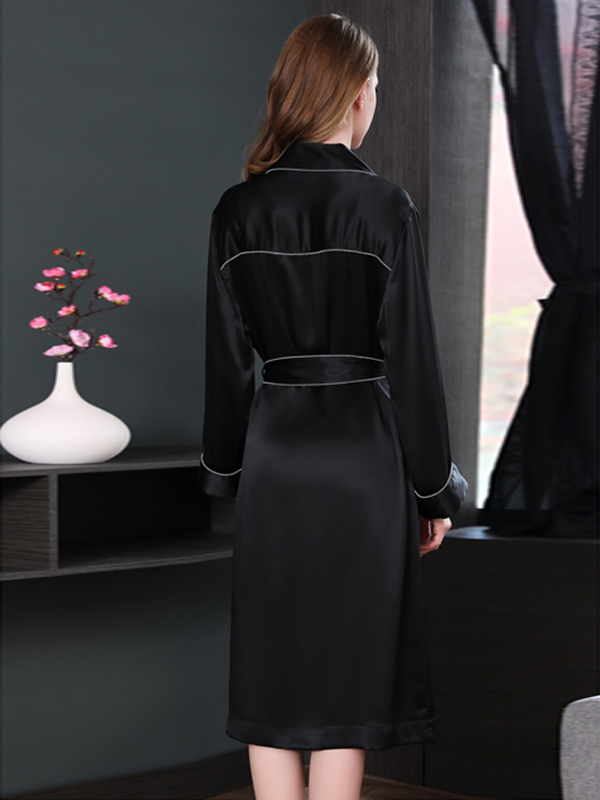 25 Momme High Quality Women's Contra Trim And Full Length Silk Robe、Real Silk Life
